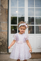 Piccola Speranza Pink Bow And Diamante Baby Dress With Jam Pants